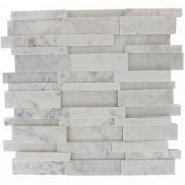 Splashback Tile Dimension 3D Brick White Carrera Stone 12 in. x 12 in. x 8 mm Marble Mosaic Wall and Floor Tile-DIMENSION3DBRICKWHITECARRERA STONE TILES 203288467