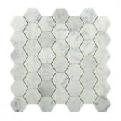 Splashback Tile Hexagon White Carrera 12 in. x 12 in. x 8 mm Floor and Wall Tile-HEXAGON WHITE CARRERA 204688642