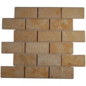 Splashback Tile Jerusalem Gold Beveled 12 in. x 12 in. x 8 mm Natural Stone Floor and Wall Tile-JER GOLD 2X4 BEV 203478182