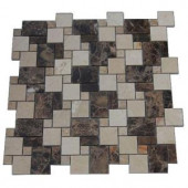 Splashback Tile Parisian Crema Marfil and Dark Emperador Blend 12 in. x 12 in. Marble Floor and Wall Tile-PARISIAN CREMA MARFIL AND DARK EMPERADOR 204279054