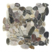 Splashback Tile Pebble Rock Flat Crue 12 in. x 12 in. Marble Floor and Wall Tile-PEBBLE ROCK FLAT CRUE 204279053