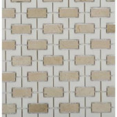 Splashback Tile Rorschack Crema Marfil and Thassos 12 in. x 12 in. x 10 mm Polished Marble Mosaic Tile-RORCEMFIL 206883588