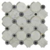 Splashback Tile Steppe Sanddun Carrera Blend Polished Marble Waterjet Mosaic Floor and Wall Tile - 3 in. x 6 in. Tile Sample-L2B4STPSNDUNCRA 206705833