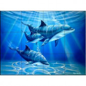 The Tile Mural Store Dolphin Journey 17 in. x 12-3/4 in. Ceramic Mural Wall Tile-15-1710-1712-6C 205842822
