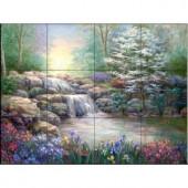 The Tile Mural Store Hidden Waterfall I 17 in. x 12-3/4 in. Ceramic Mural Wall Tile-15-828-1712-6C 205842728