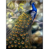 The Tile Mural Store Peacock 12-3/4 in. x 17 in. Ceramic Mural Wall Tile-15-1048-1217-4C 205842734