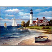 The Tile Mural Store Sailing the Safe Harbor 24 in. x 18 in. Ceramic Mural Wall Tile-15-853-2418-6C 205842729