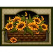 The Tile Mural Store Sunflower Basket 17 in. x 12-3/4 in. Ceramic Mural Wall Tile-15-1507-1712-6C 205842810