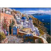 The Tile Mural Store View of Santorini 24 in. x 18 in. Ceramic Mural Wall Tile-15-396-2418-6C 205842681