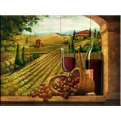 The Tile Mural Store Vineyard Window I 17 in. x 12-3/4 in. Ceramic Mural Wall Tile-15-2896-1712-6C 205842919