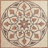 Travertine La Flora 48 in. x 48 in. Tumbled Stone Medallion Decorative Floor and Wall Tile-TSM34848MED1P 204678331